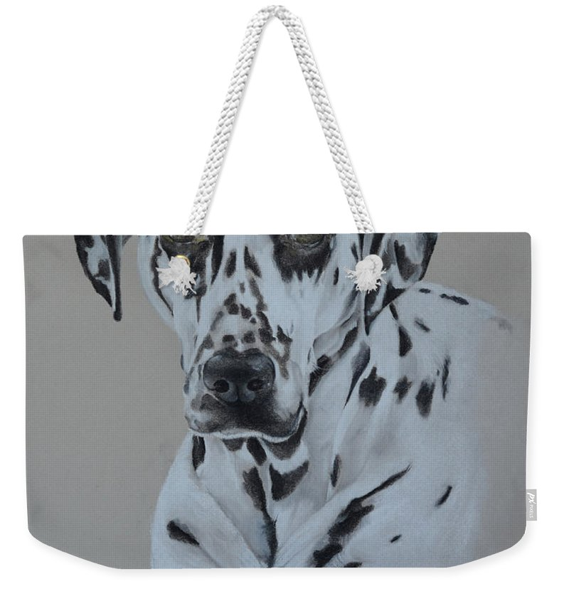 Dalamtion Weekender Tote Bag featuring the pastel Dalmation by Catt Kyriacou