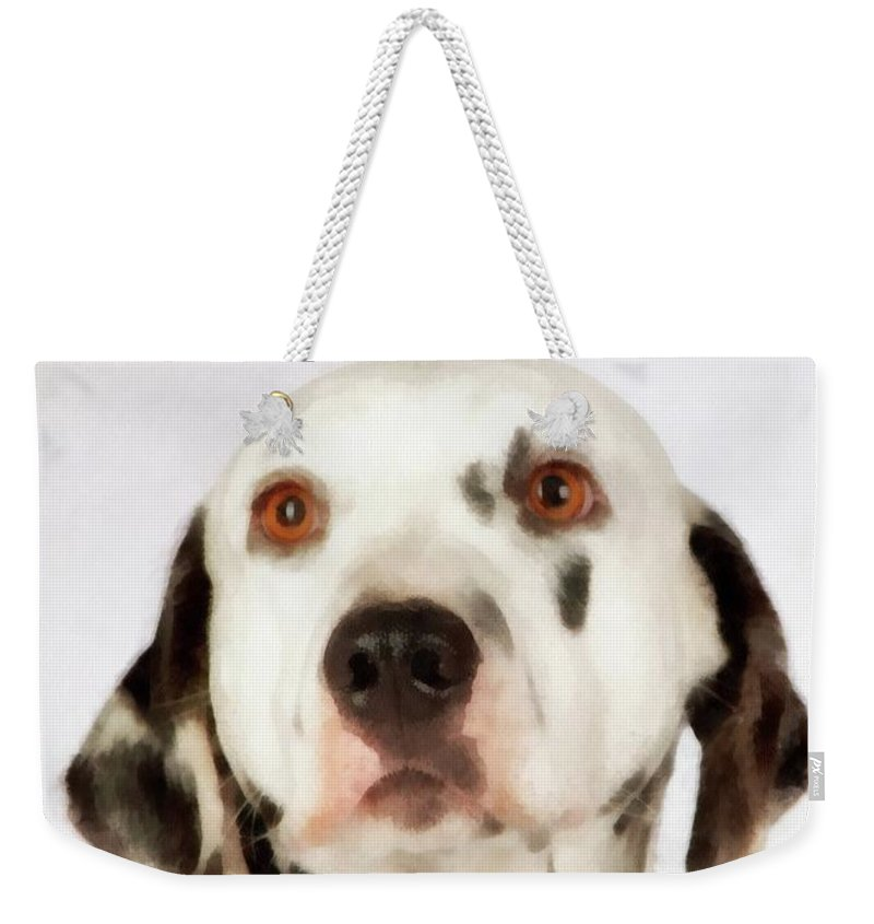 Dog Weekender Tote Bag featuring the painting Dalmation by Esoterica Art Agency