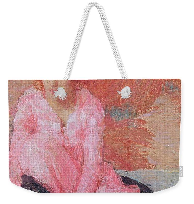 Dame En Rose By Edmond-francois Aman-jean (1858-1936) Weekender Tote Bag featuring the painting Dame En Rose by Edmond Francois Aman Jean