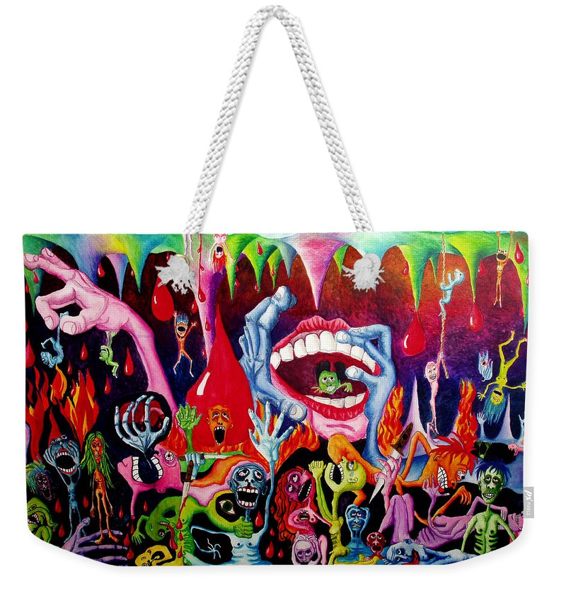 Hell Weekender Tote Bag featuring the painting Damnation Of The Evil by Nancy Mueller