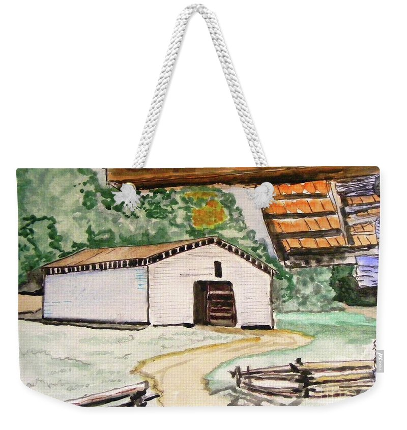 Cades Cove Weekender Tote Bag featuring the painting Dan Lawson Barn by Spencer Hudson