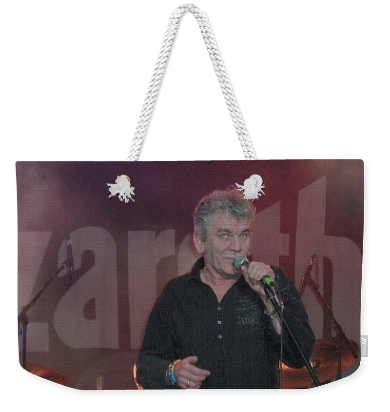 Dan Mcafferty Nazareth Band Music Classic Rock And Roll Singer Weekender Tote Bag featuring the photograph Dan Mccafferty by Andrea Lawrence
