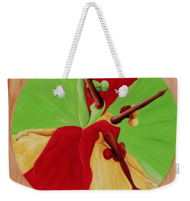 Dancing Weekender Tote Bag featuring the painting Dance Circle by Ikahl Beckford