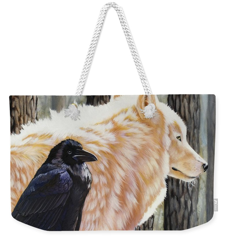 Acrylic Weekender Tote Bag featuring the painting Dance in the Light by Sandi Baker
