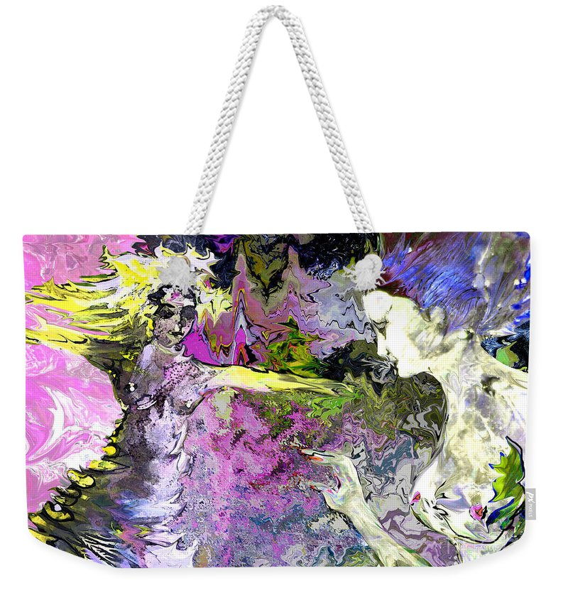 Miki Weekender Tote Bag featuring the painting Dance In Violet by Miki De Goodaboom