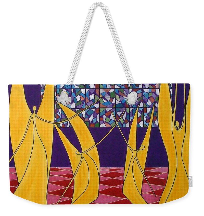 Dance Of Angels Weekender Tote Bag featuring the painting Dance Of Angels by Sandra Marie Adams