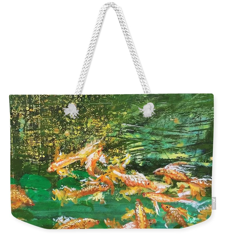 Gold Fish Weekender Tote Bag featuring the painting Dance of Golden Angels by J Bauer