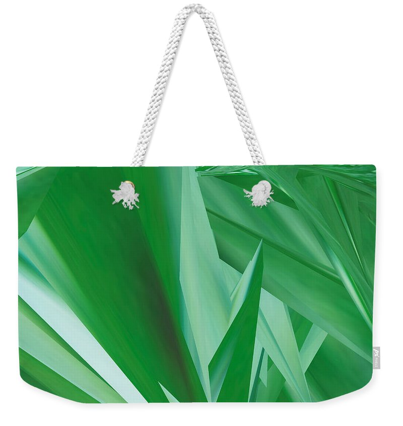 Artwork Weekender Tote Bag featuring the digital art Dance Of Green Leaves by Michelle BarlondSmith