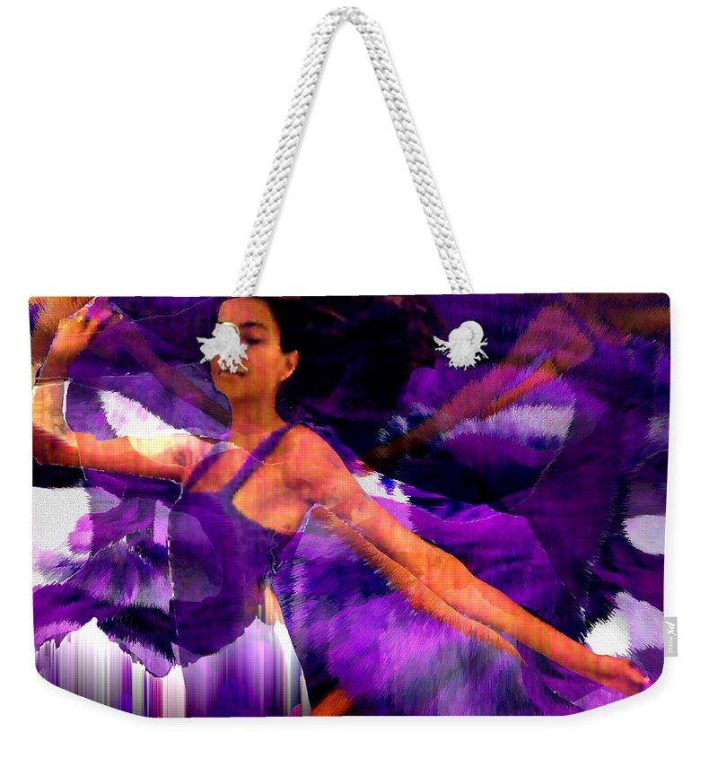 Mystical Weekender Tote Bag featuring the digital art Dance Of The Purple Veil by Seth Weaver