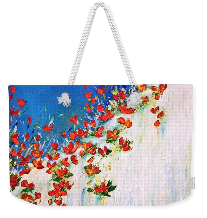 Flowers Weekender Tote Bag featuring the painting Dance Of The Spring by Teresa Wegrzyn