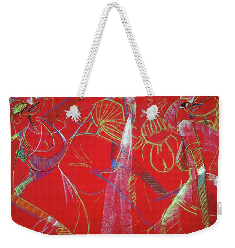 Figure Weekender Tote Bag featuring the pastel Dance Step by Lawani Sunday