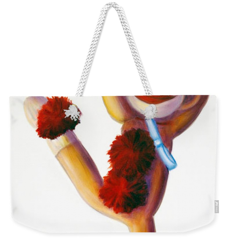 Dancer Weekender Tote Bag featuring the painting Dancer Made Of Sockies by Shannon Grissom
