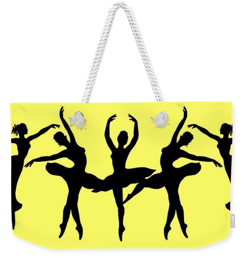 Black Silhouette Weekender Tote Bag featuring the painting Dancing Ballerinas Silhouette by Irina Sztukowski