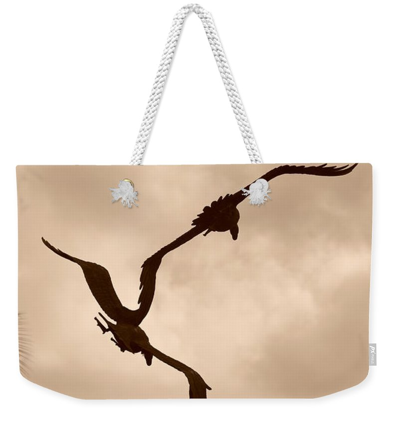 Sepia Weekender Tote Bag featuring the photograph Dancing Birds by Rob Hans