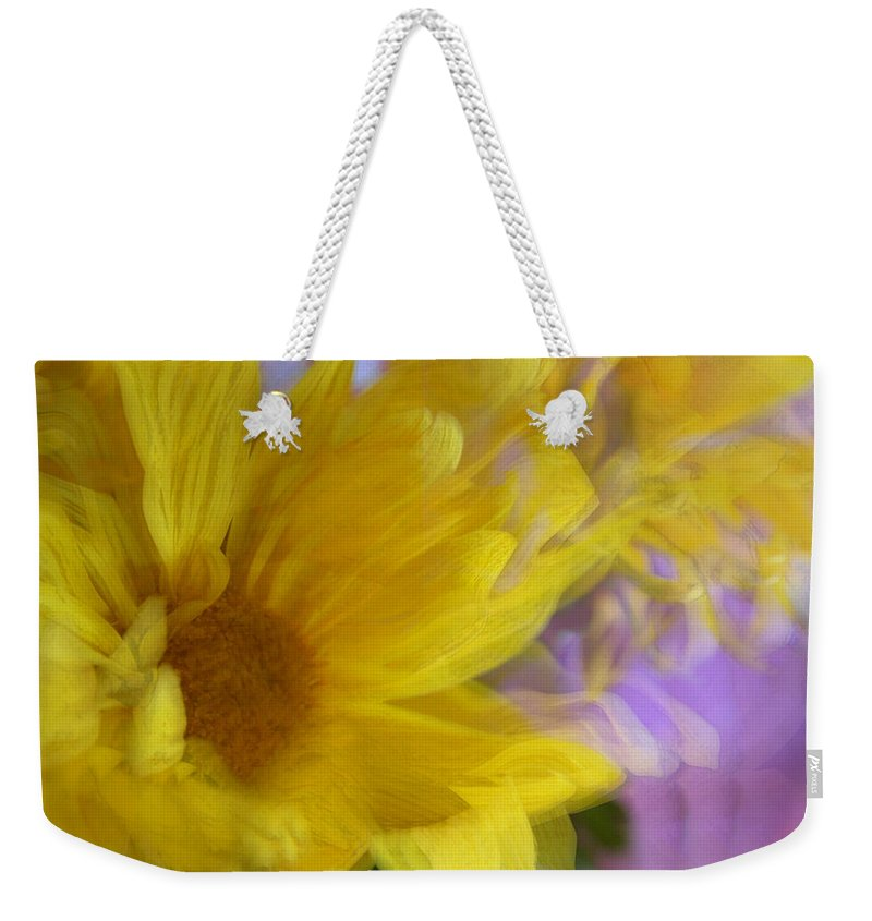 Flowers Weekender Tote Bag featuring the photograph Dancing Daisy by Linda Sannuti
