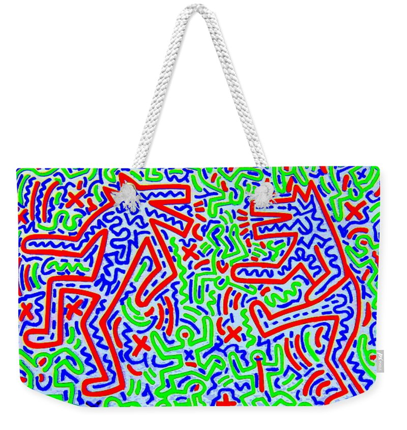 Dogs Weekender Tote Bag featuring the mixed media Dancing Dogs After Keith Haring 1958-90 by Betty-Anne McDonald
