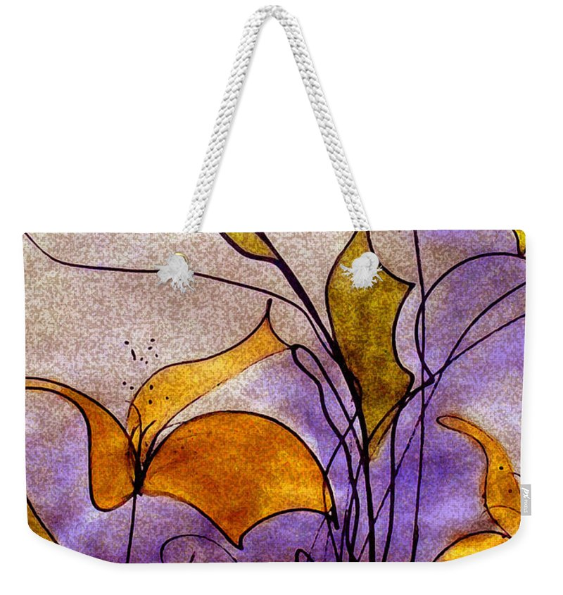 Floral Weekender Tote Bag featuring the mixed media Dancing Flora by Ruth Palmer