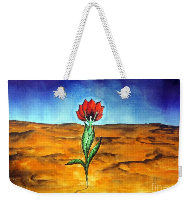 Dancer Weekender Tote Bag featuring the painting Dancing Flower-girl by Sofia Metal Queen