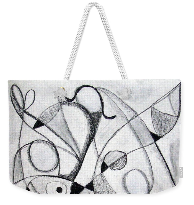 Pencil Weekender Tote Bag featuring the drawing Dancing For Joy by J R Seymour