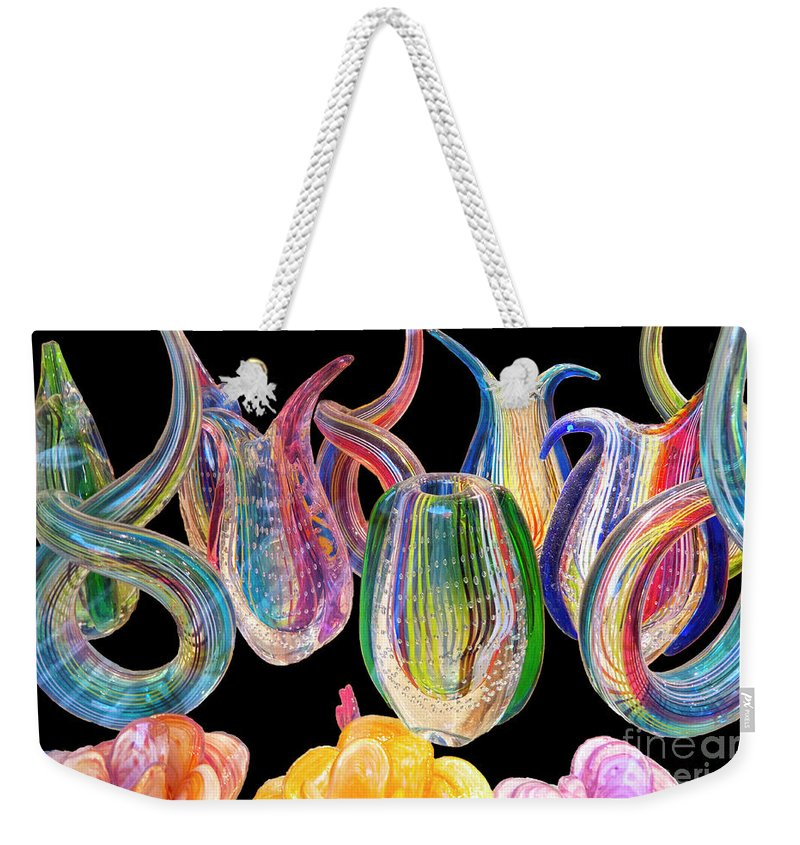 Heiko Weekender Tote Bag featuring the photograph Dancing Glass Objects by Heiko Koehrer-Wagner