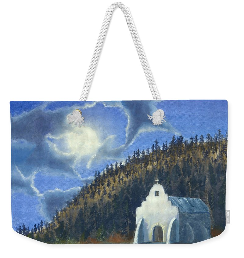 Landscape Weekender Tote Bag featuring the painting Dancing In The Moonlight by Jerry McElroy