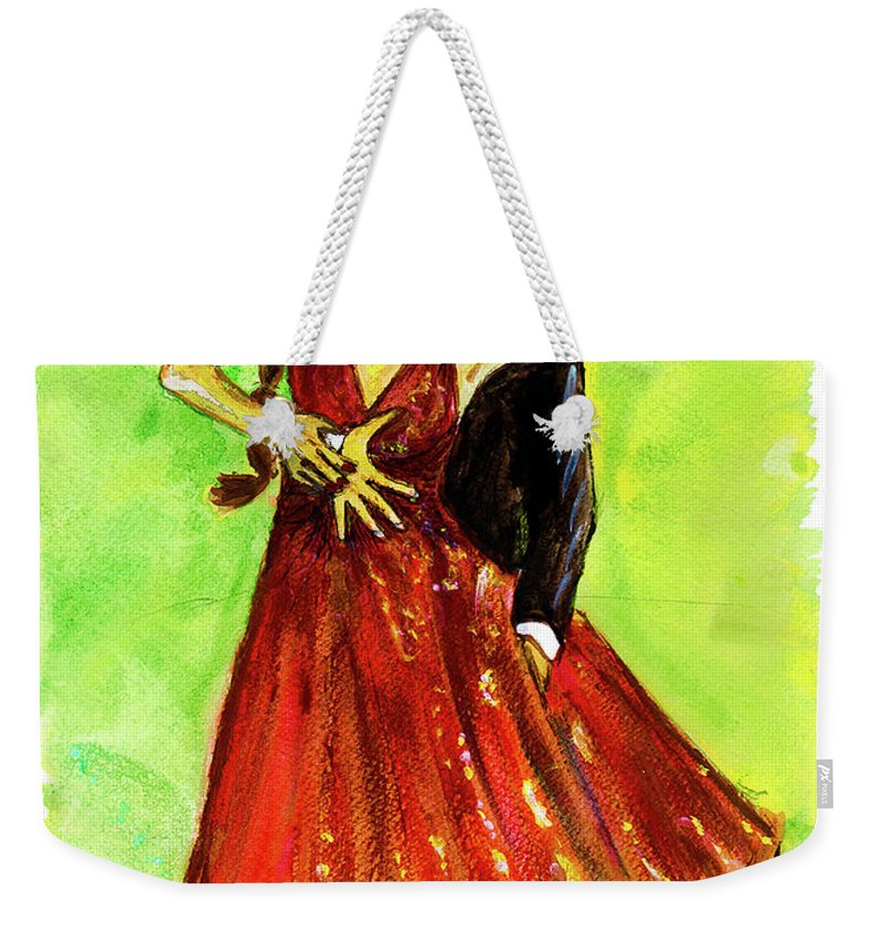 Dancing With The Stars Weekender Tote Bag featuring the painting Dancing In The Showlights by Stephanie Clarkson