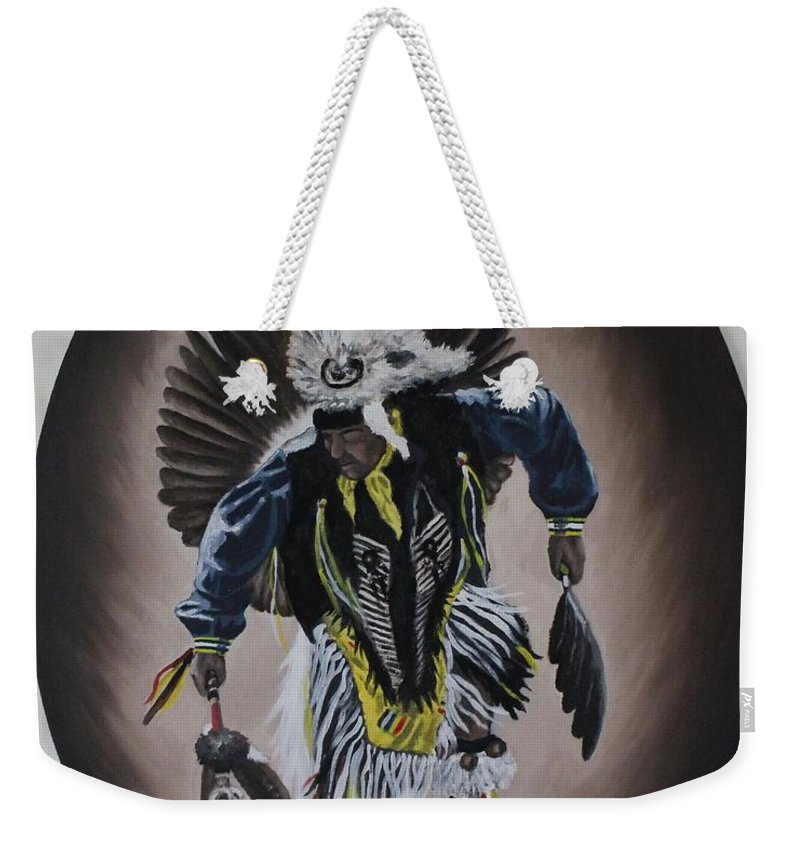 Michael Weekender Tote Bag featuring the painting Dancing In The Spirit by Michael TMAD Finney