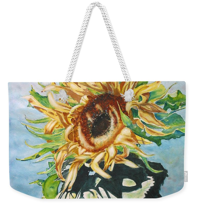 Sunflower Weekender Tote Bag featuring the painting Dancing In The Sun by Mohamed Hirji
