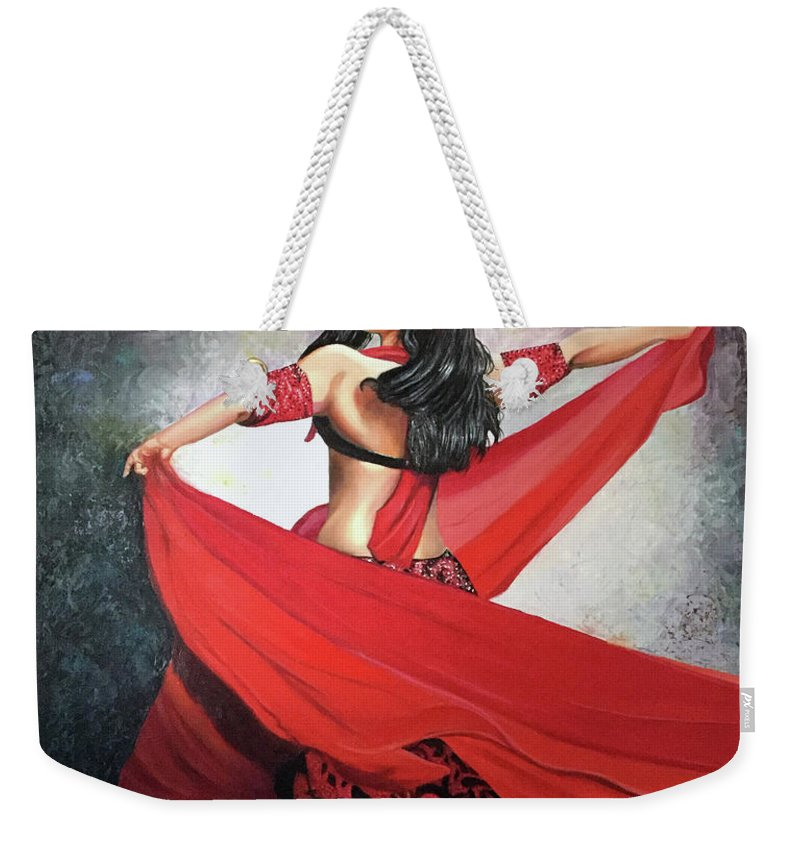 Belly Dancing Weekender Tote Bag featuring the painting Dancing Lady by Jose Manuel Abraham