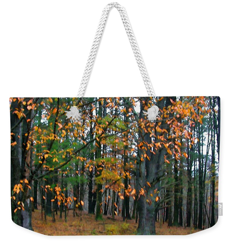 Autumn Weekender Tote Bag featuring the painting Dancing Leaves by Paul Sachtleben