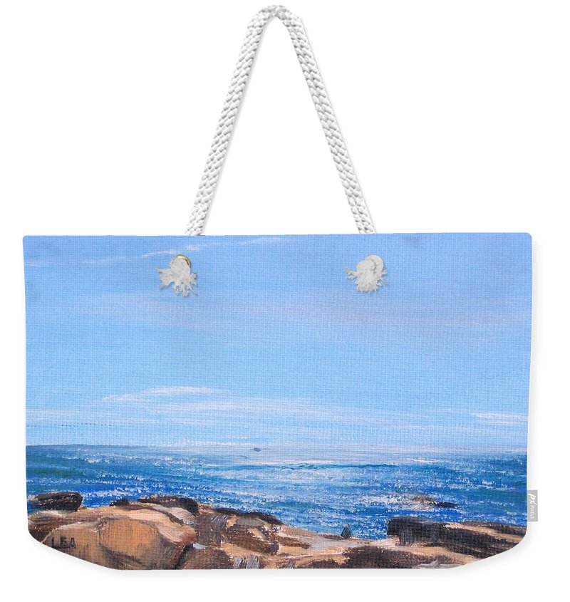 Seascape Weekender Tote Bag featuring the painting Dancing Light by Lea Novak