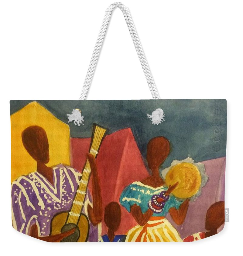 Jammin Weekender Tote Bag featuring the painting Dancing N Jammin In The Street Abstract by Ellen Levinson