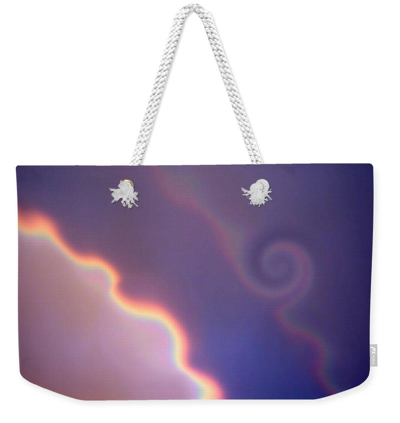 Rainbow Weekender Tote Bag featuring the digital art Dancing Rainbows by Donna Blackhall