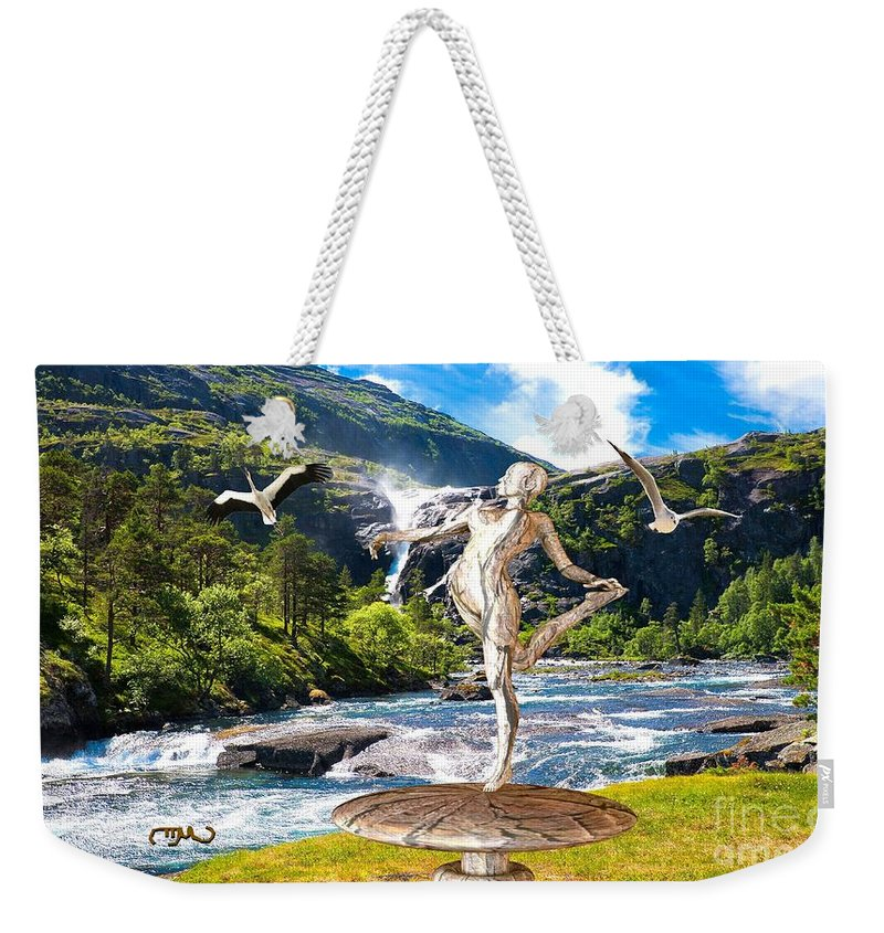 Modern Painting Weekender Tote Bag featuring the mixed media Dancing Statue Near The Waterfall by Pemaro