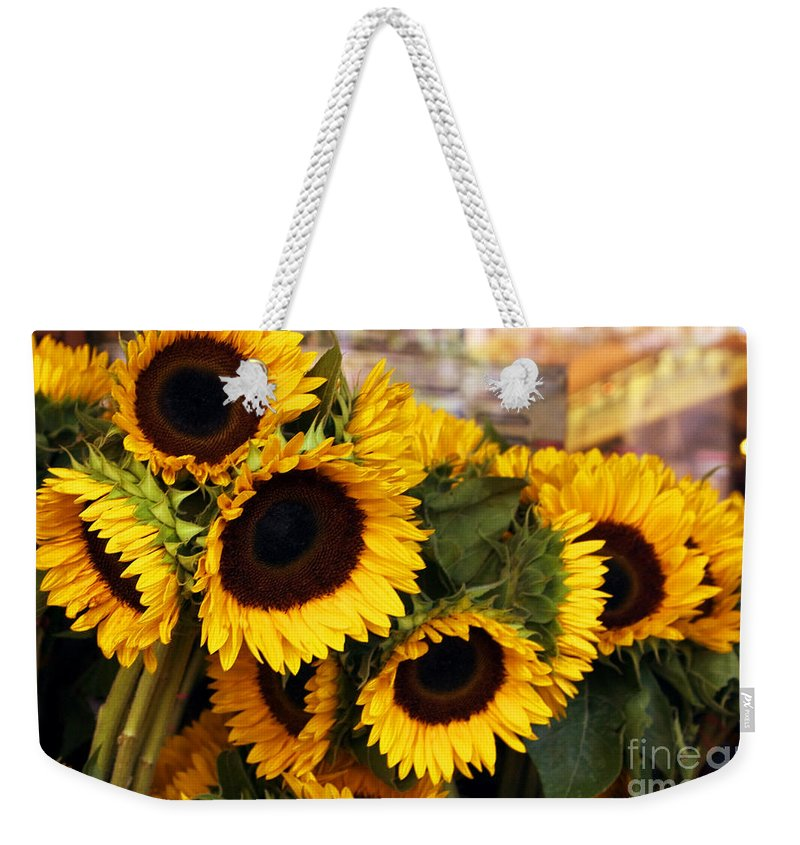 Sunflower Weekender Tote Bag featuring the photograph Dancing Sunflowers by Madeline Ellis