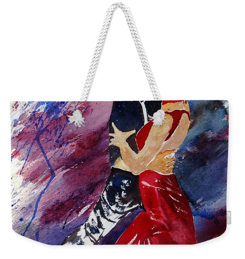 Tango Weekender Tote Bag featuring the painting Dancing Tango by Pol Ledent
