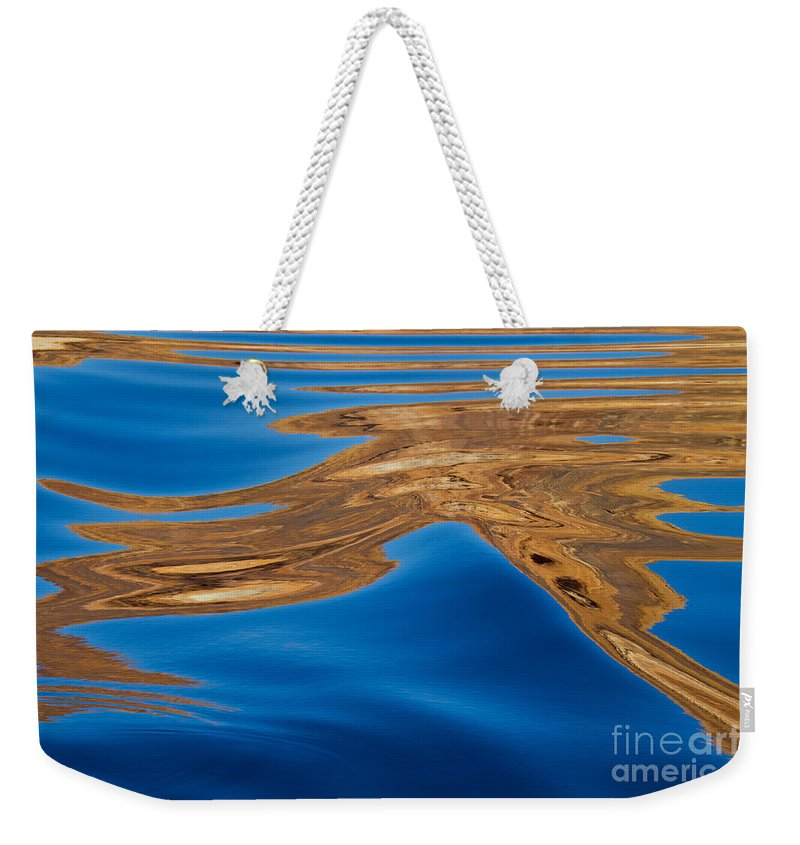 Lake Powell; Abstract; Blue; Gold; Water; Reflection Weekender Tote Bag featuring the photograph Dancing Water by Kathy McClure