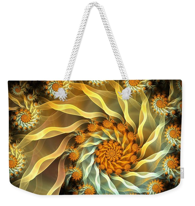 Fractal Weekender Tote Bag featuring the digital art Dancing With Daisies by Amorina Ashton