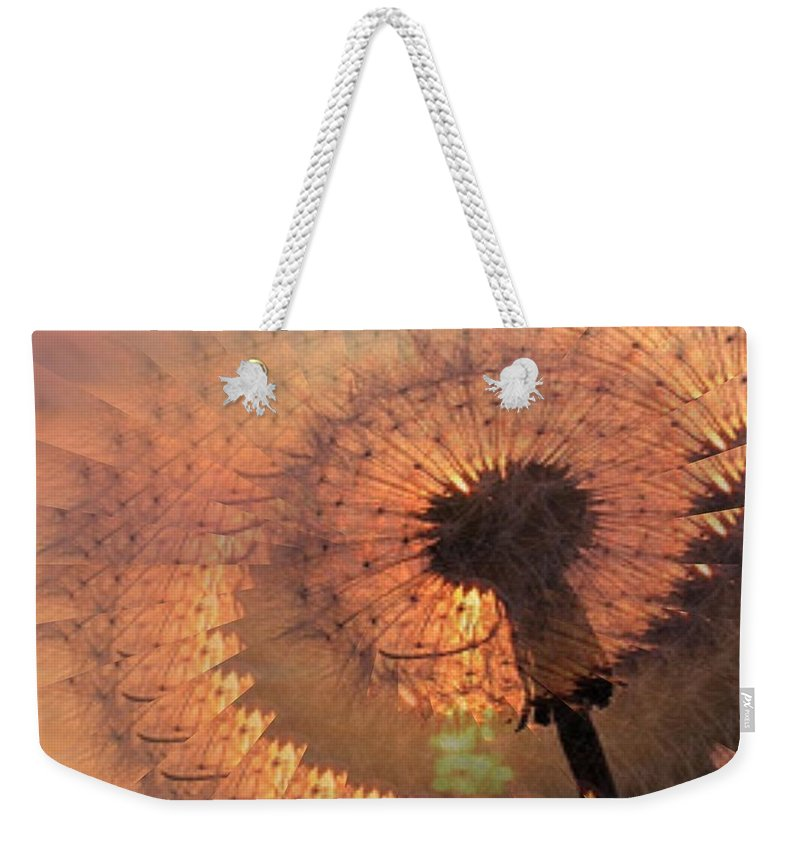 Dandilion Weekender Tote Bag featuring the digital art Dandelion Illusion by Tim Allen