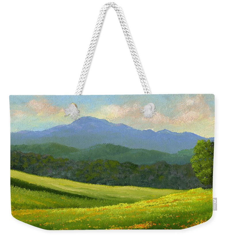 Landscape Weekender Tote Bag featuring the painting Dandelion Meadows by Frank Wilson
