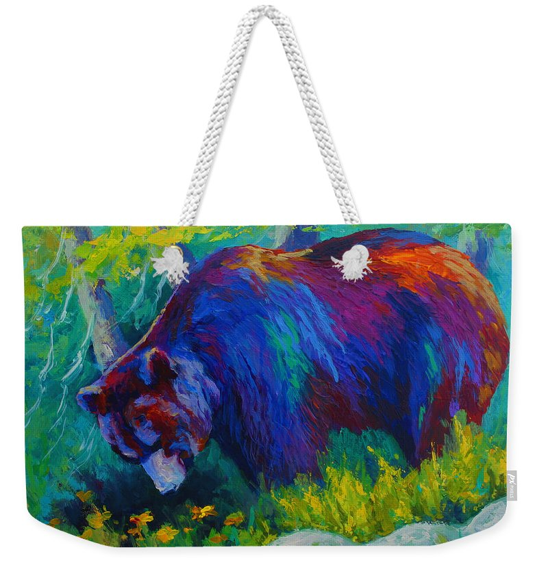 Western Weekender Tote Bag featuring the painting Dandelions For Dinner - Black Bear by Marion Rose