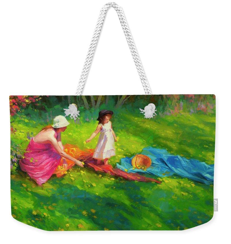Country Weekender Tote Bag featuring the painting Dandelions by Steve Henderson