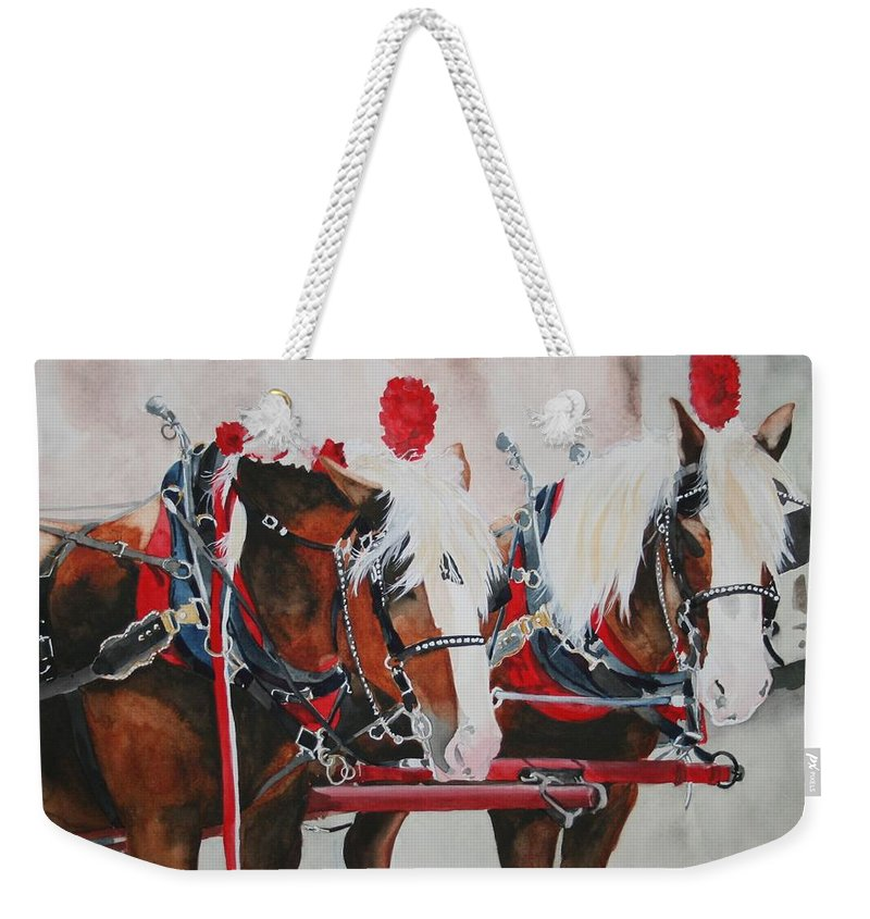 Horse Weekender Tote Bag featuring the painting Dandy Duo by Jean Blackmer