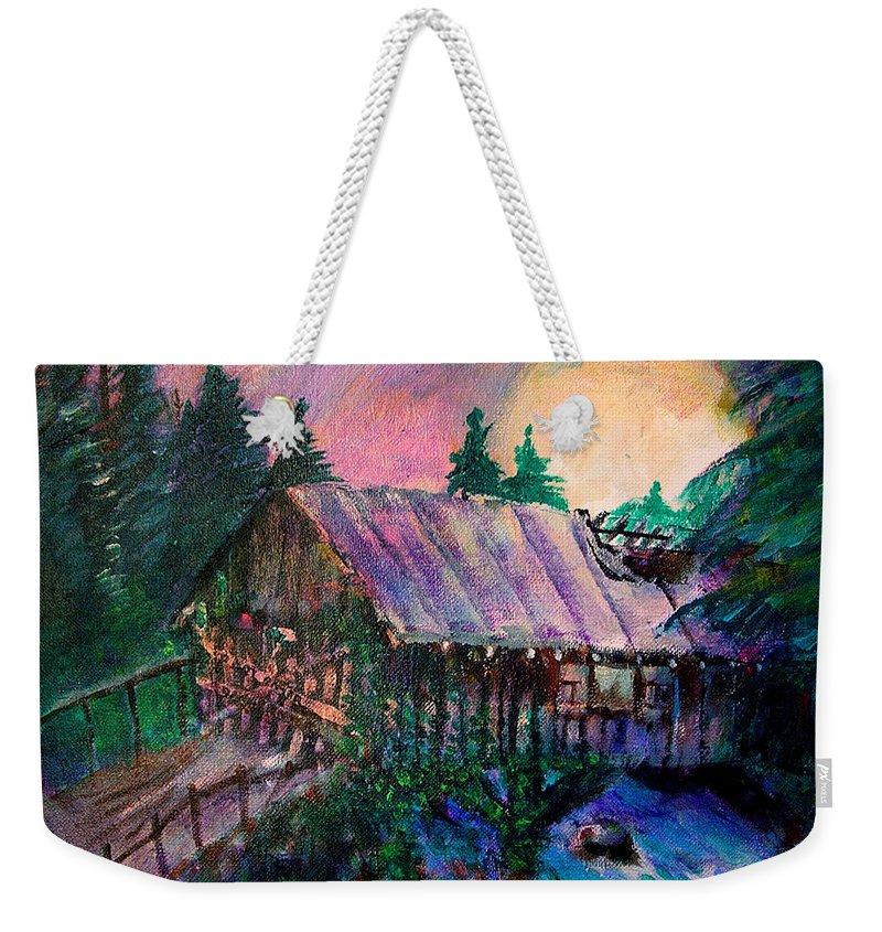Dangerous Bridge Weekender Tote Bag featuring the painting Dangerous Bridge by Seth Weaver