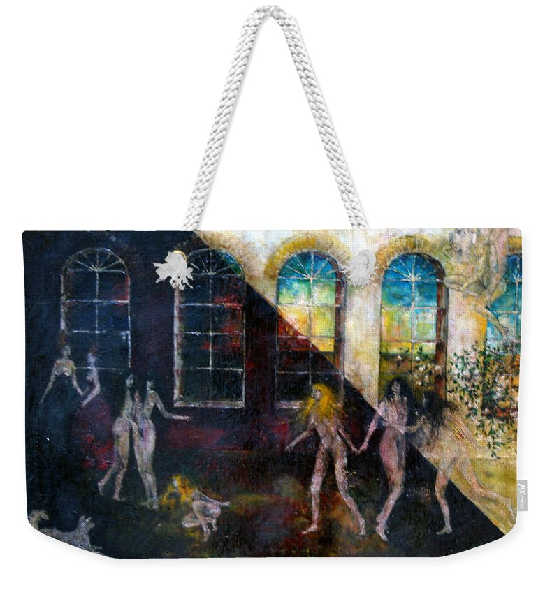 Imagination Weekender Tote Bag featuring the painting Dangerous Parties by Wojtek Kowalski