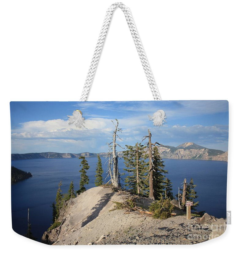 Crater Lake Weekender Tote Bag featuring the photograph Dangerous Slope At Crater Lake by Carol Groenen