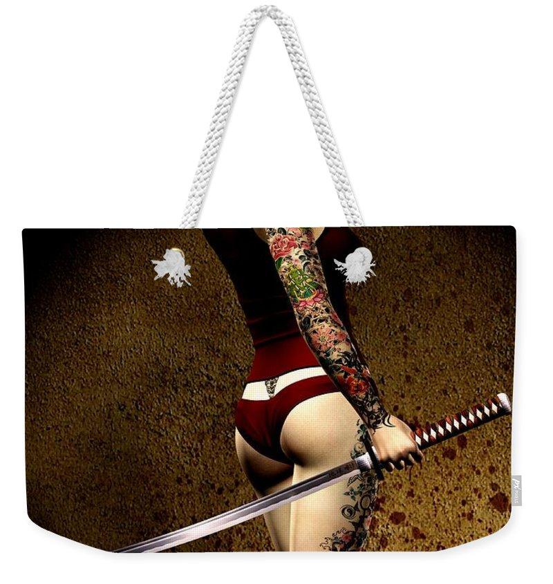 3d Weekender Tote Bag featuring the digital art Dangerously Sharp by Alexander Butler