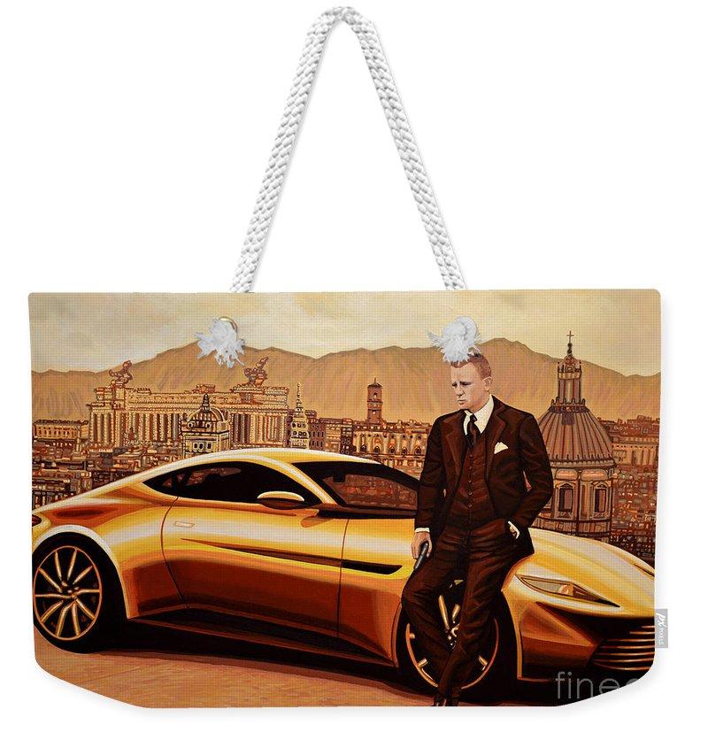 Daniel Craig Weekender Tote Bag featuring the painting Daniel Craig As James Bond by Paul Meijering