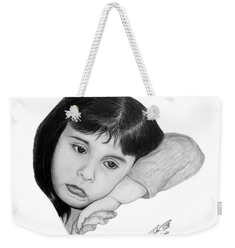 Portrait Sketch Weekender Tote Bag featuring the drawing Dannie by Peter Piatt
