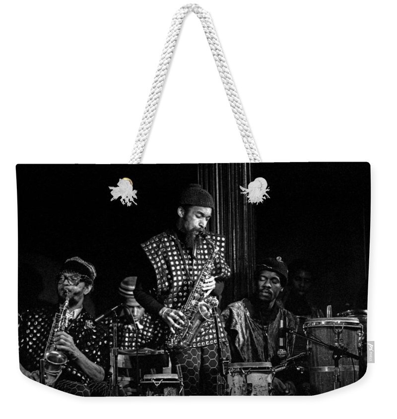 Jazz Weekender Tote Bag featuring the photograph Danny Davis With Sun Ra Arkestra by Lee Santa